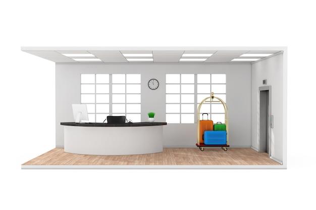흰색 바탕에 리셉션 데스크, 창문, 골든 럭셔리 수하물 트롤리 카트, 현대적인 엘리베이터, 나무 쪽모이 세공 마루 바닥이 있는 호텔 로비 홀 내부. 3d 렌더링