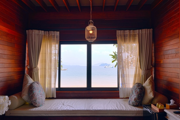 Hotel room seaside holiday romance, sea views from window