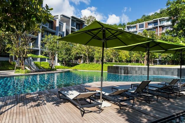 Hotel swimming pool, summer vacation