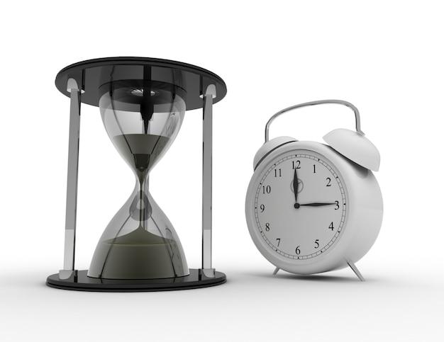 모래 시계 및 흰색 바탕에 알람 ckock입니다. 비즈니스 시간 개념 3d 렌더링 된 그림