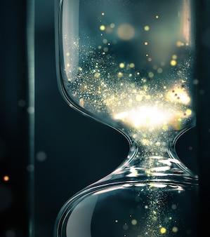 모래 시계는 내부에 빛나는 모래, 시간의 개념적 이미지, 사진을 기반으로 한 3d 디자인으로 닫습니다.