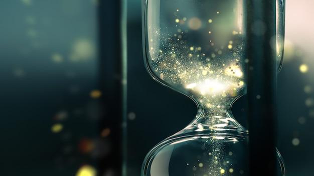 모래 시계는 시간 d 디자인의 개념적 이미지 내부에 빛나는 모래와 함께 닫습니다.