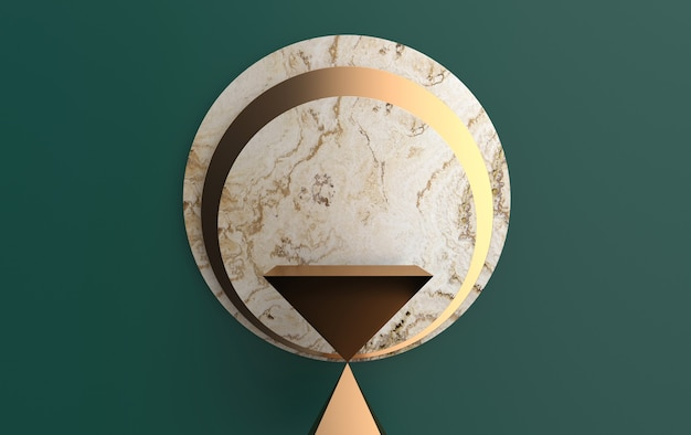 Hourglass pedestal abstract, geometric shape group set, marble background, 3d rendering, scene with geometrical forms, minimalistic platform, round gold frame, marble disk