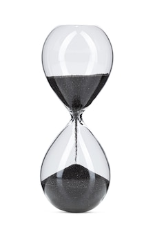 Hourglass with black sand isolated on white background