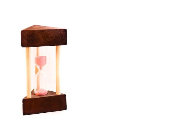Hourglass with copyspace. structure made of wood.