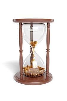 절연 안에 떨어지는 달러 기호와 모래 시계.
