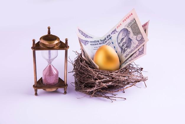 Песочные часы с золотым яйцом и индийскими деньгами или бумажными банкнотами в настоящем гнезде. неглубокий фокус.