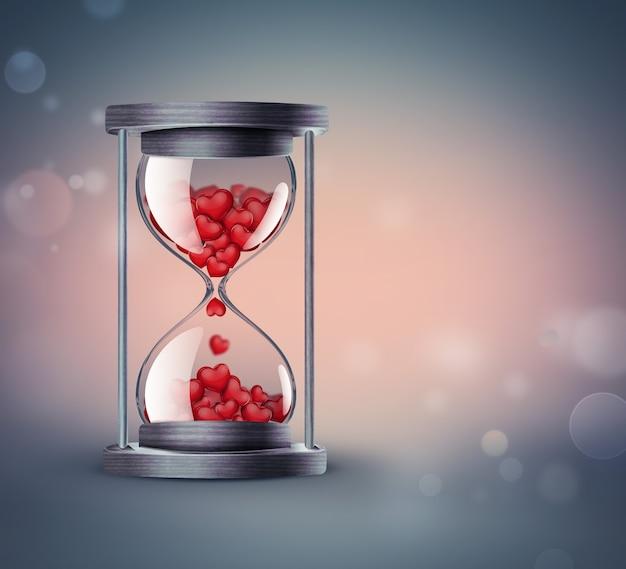 Песочные часы с красными сердечками на фоне с мягким эффектом боке