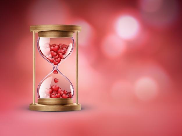 Песочные часы с красными сердечками на красном фоне с эффектом боке