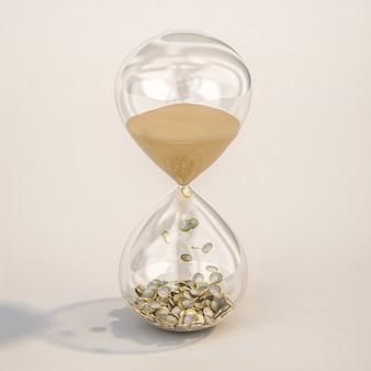 Песочные часы с песком и монетками евро. 3d визуализация.