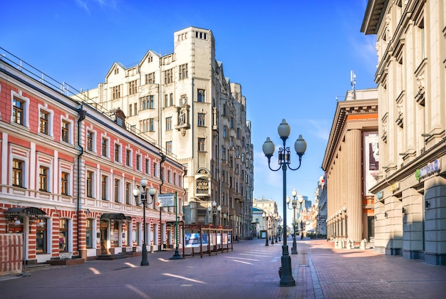 House of the actor on arbat in moscow on a summer morning