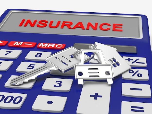 保険計算機3dの家と車のキー