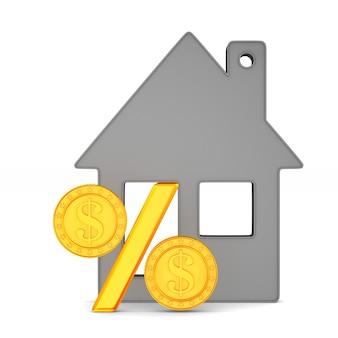 Дом и проценты на белом.