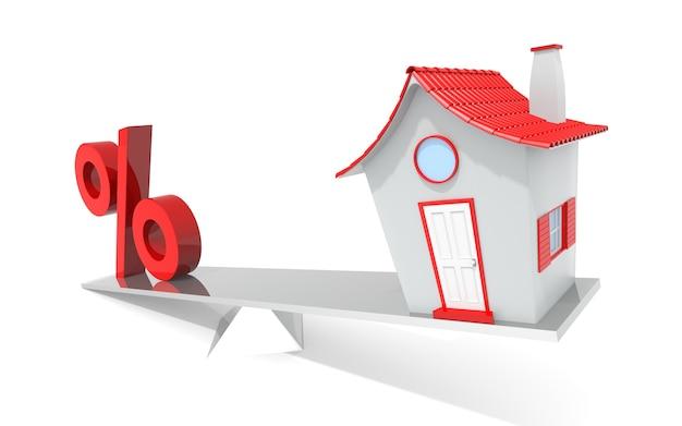 흰색 배경에 고립 된 균형에 집과 백분율 기호