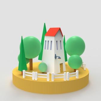 家と松の木は白で隔離されます。