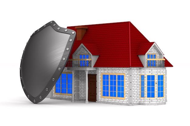 Дом и щит на белой поверхности. изолированная иллюстрация 3d.