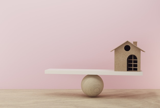 House a balance scale in equal position on wooden table and pink background