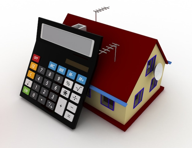 House and calculator. estate concept. 3d rendered illustration