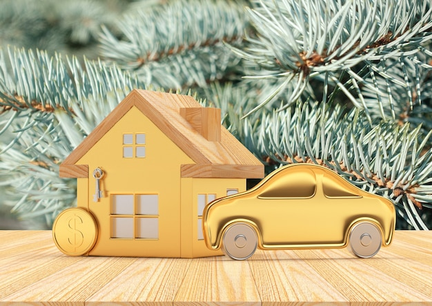 House, car and coins icons on christmas tree