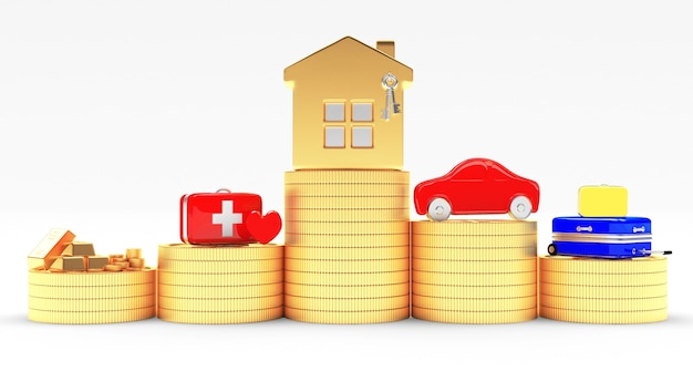 House, car, medical and travel suitcases on coins