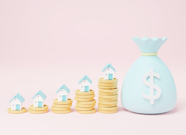 House coins and money bags 3d rendering illustration