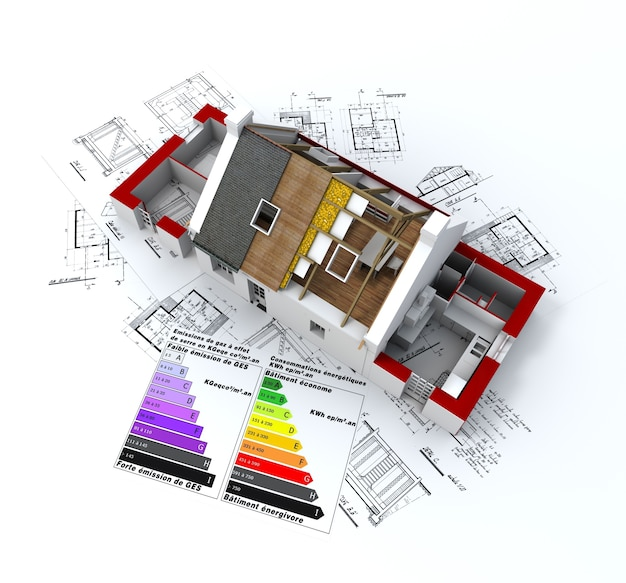 House in construction, on top of blueprints, with and energy efficiency rating chart