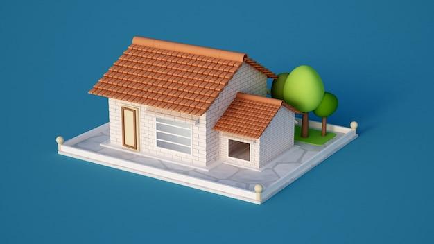 Дом, дача с плиткой из белого кирпича и деревьев. 3d иллюстрации, 3d рендеринг.