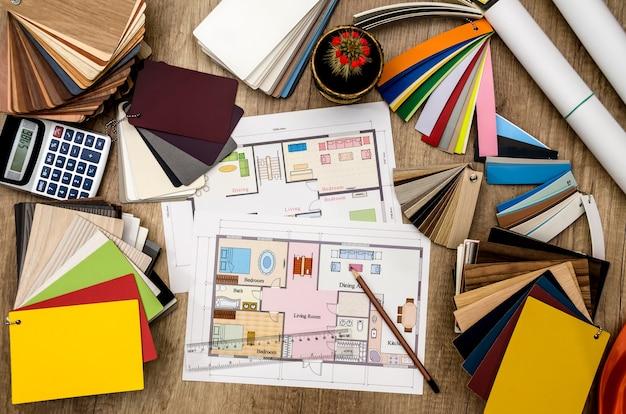 Дизайн дома, образцы цветов для пола и мебели.