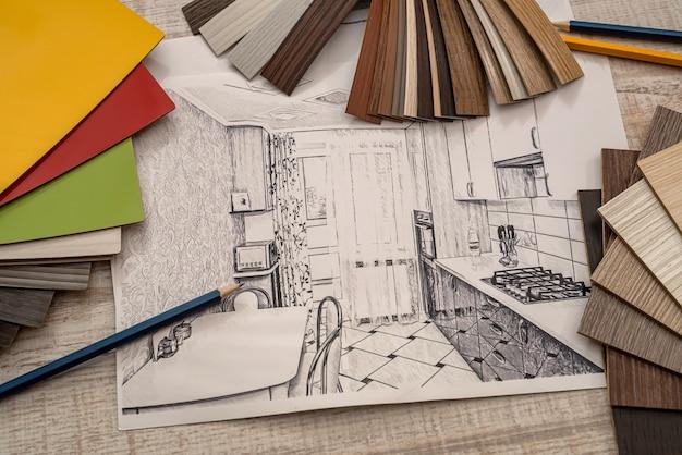 色見本、リフォーム用鉛筆、産業を使用した家の描画