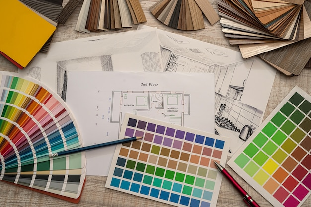 House drawing with color swatches, pencil for renovation, industry