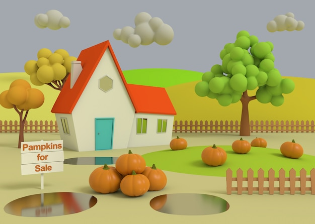 House in the field of pumpkins on the background of the autumn priors. 3d-rendering. picturesque rural landscape with harvest in cartoon style.