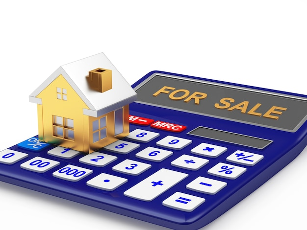 Цифра дома на калькуляторе с распродажей
