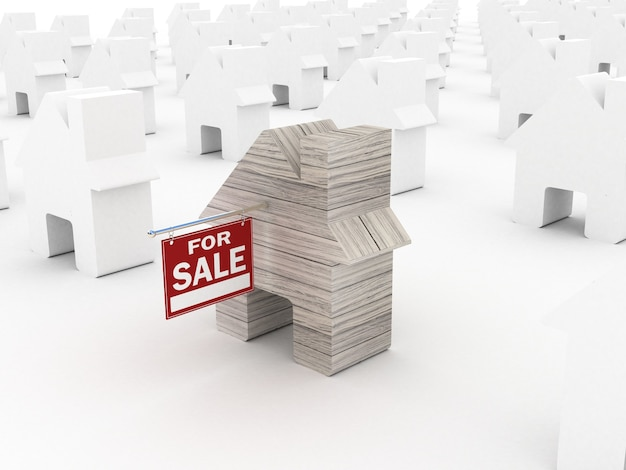 Продажа дома, 3d рендеринг