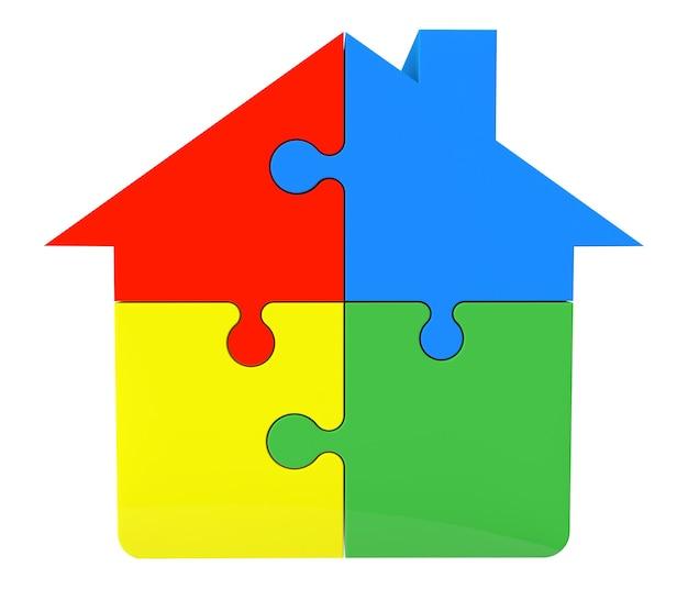 白い背景の上のパズルから家