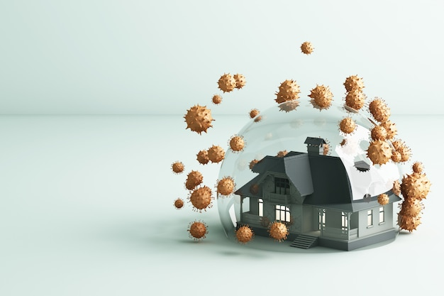 House in a glass bullet protecting coronavirus