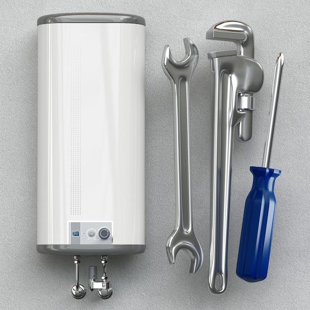 家の暖房のコンセプト – 現代の家庭用ガス燃焼ボイラー – エネルギーと現金の節約、3dレンダリング