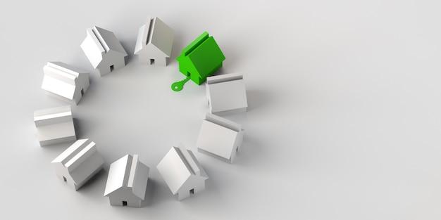 家は緑色で強調表示され、鍵はドアから入ります不動産市場の3dイラスト