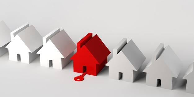 家は赤で強調表示され、鍵はドアから入ります不動産市場の3dイラスト