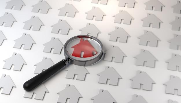 돋보기와 빨간색으로 표시된 집 아이콘 부동산 배경 배너 3d 그림