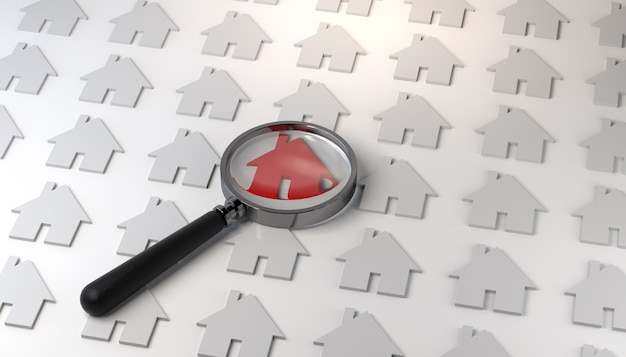 House icon marked in red with a magnifying glass real estate background banner 3d illustration