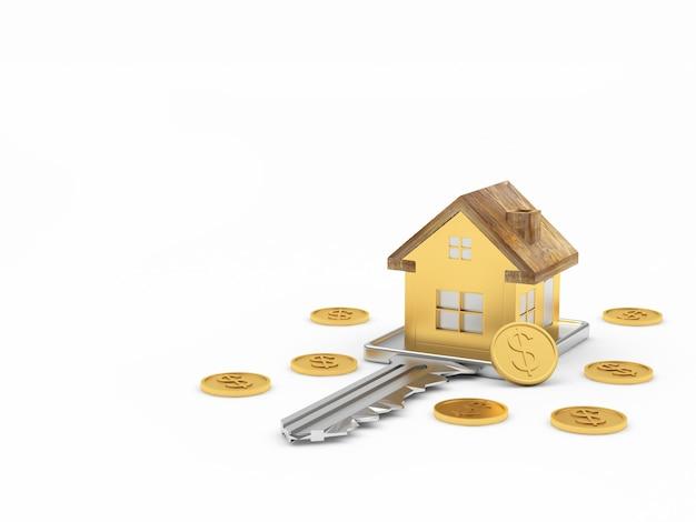 Значок дома на ключ и монеты