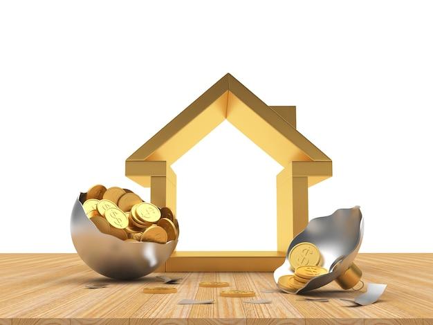 コインでいっぱいの銀の壊れたクリスマスボールと家のアイコン。