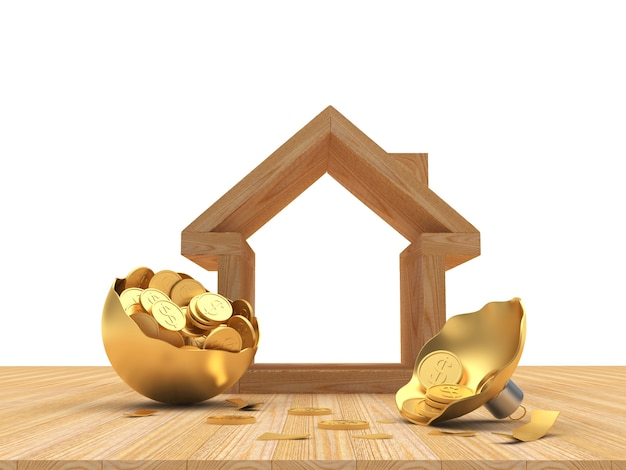 House icon with a broken golden christmas ball full of coins