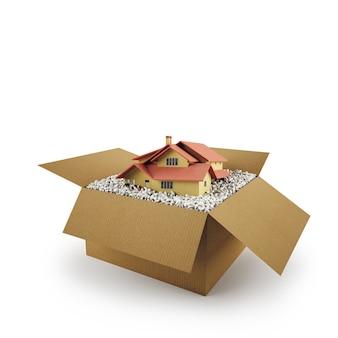 Домик в картонной коробке. концепция покупки жилья. 3d-рендеринг