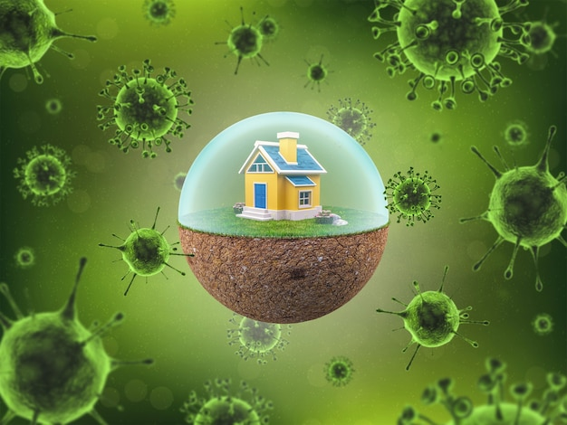コロナウイルス検疫中のコロナウイルスまたはcovid19ロックダウンの概念を防ぐための障壁のある地球の家