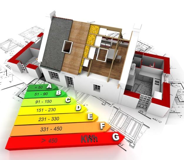 設計図の上に、エネルギー効率の高い建設中の家
