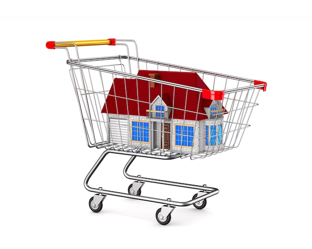 House into shopping cart on white space. isolated 3d illustration