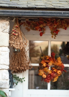 The house is decorated for autumn