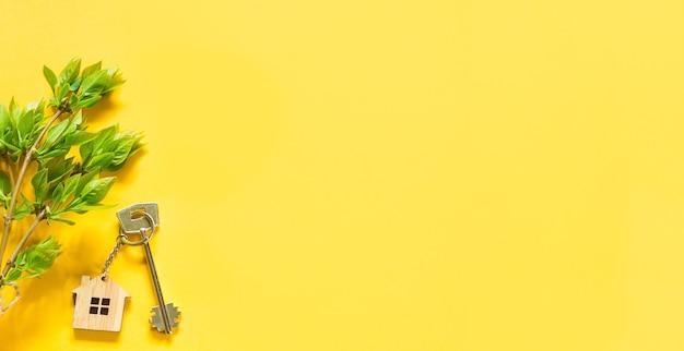 노란색 배경에 키체인이 있는 집 열쇠와 나뭇잎이 있는 나뭇가지의 봄 부케. 농가, 관광 숙박 시설, 예약, 새 집으로 이사, 모기지, 부동산 임대 및 구매, 여름 제안