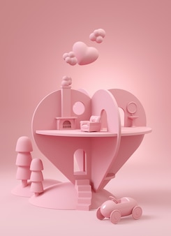 House of love. heart shape house in pink on pink . 3d illustration rendering.